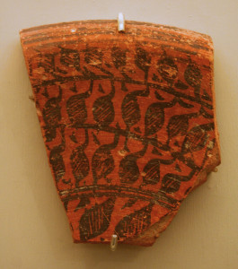 Chanhudaro Site. Fragment of Large Deep Vessel, circa 2500 B.C.E. Red pottery with red and black slip-painted decoration