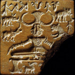 Shiva Pashupati seal, showing a seated ithyphallic figure, surrounded by animals